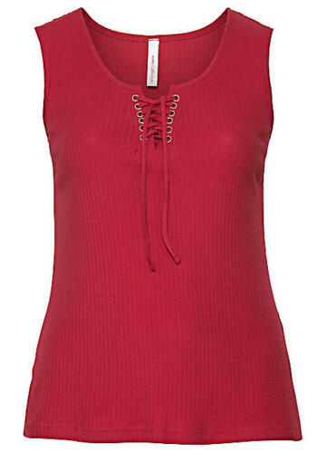 Sheego Orange Red Lace-Up Vest Top Size 30 BNWT