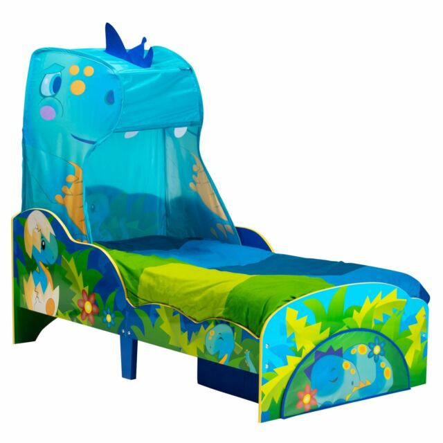 Kids Dinosaur Toddler Bed With Canopy And Storage Drawer Boys Ebay