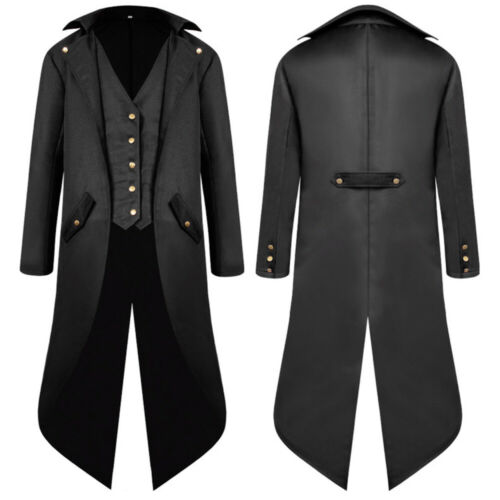 Men/'s Swallow-tailed Crop Coat Tuxedo Banquet Stage Tailcoat Overcoat Jacket UK