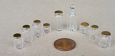 1:12 Dolls House Miniature Glass Jars With Lids Apothecary Kitchen Accessory