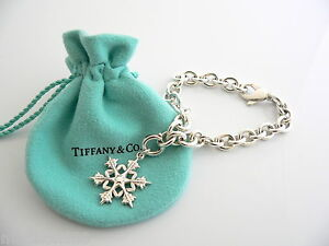 6848271f7aa27 Details about Tiffany & Co Silver Snowflake Snow Flake Bracelet Bangle  Charm Chain Clasp Rare