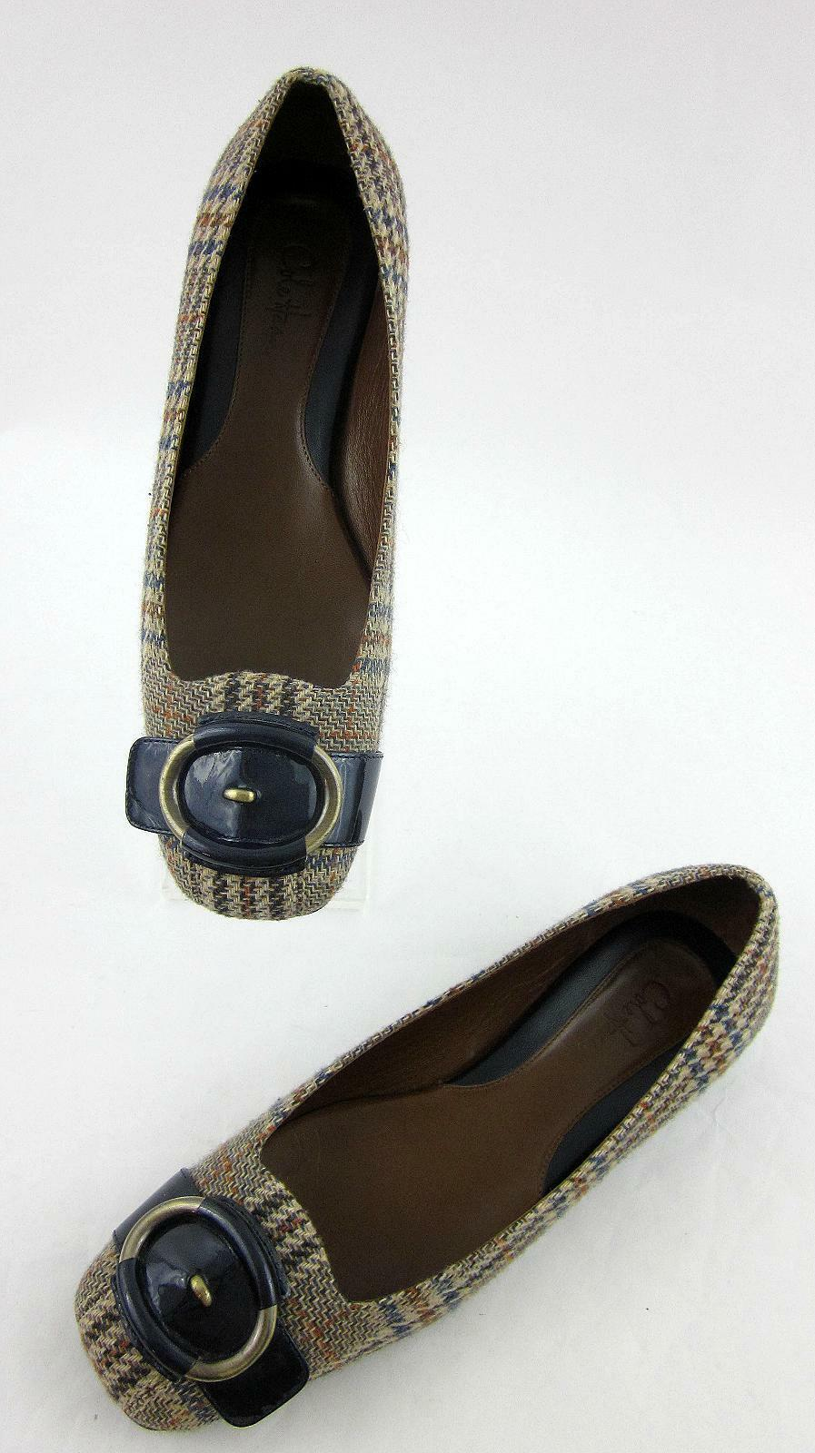 Cole Haan Air donna donna donna Flats Plaid Fabric blu Patent Strap Sz 7B 1fcd28