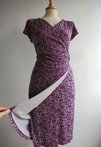 JOE BROWNS Pink Black Mock Wrap Dress Stretch Jersey Size 10 or 12