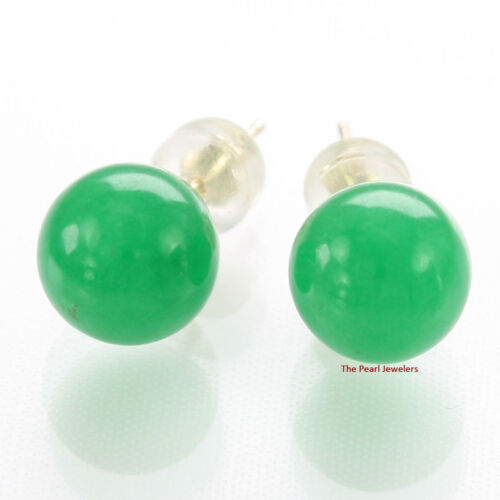 14k Solid Yellow Gold Post /& Back Set 8mm Green Jade Stud Earrings TPJ