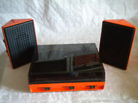 1970s Designer Orange Stereo vintage Record player Bazin Combo