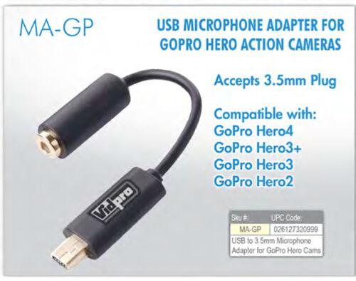 4 USB a 3.5mm Adaptador De Micrófono Mic vendedor de Reino Unido Vidpro GoPro Hero 2 3 3