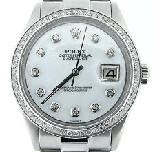 Rolex Datejust Mens Stainless Steel Watch President Band Diamond Dial 1ct Bezel