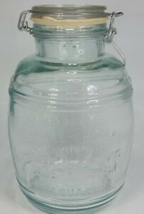 Vintage-Cracker-Barrel-Style-4-Quart-Glass-COOKIE-JAR-Swing-Top-Jar-Flour-Sugar
