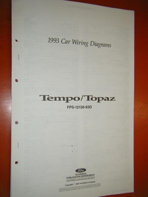 1993 FORD TEMPO MERCURY TOPAZ FACTORY WIRING DIAGRAMS ...