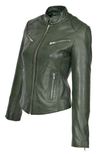 Womens Fitted Biker Leather Jacket Zip Up Standing Collar Slim Fit Green Coat