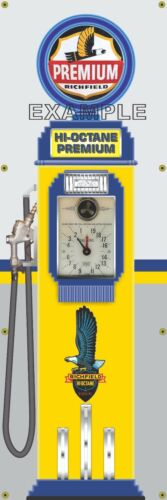 RICHFIELD GAS PUMP GAS STATION CLOCKFACE BANNER SIGN MURAL GARAGE ART 2' X 6'