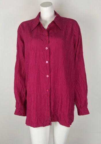 Marina Rinaldi Women 100% Silk Shirt Crinkled Butt