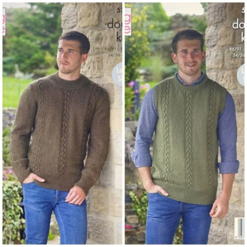 KNITTING PATTERN Mens Long Sleeve//Sleeveless Cable Jumpers DK King Cole 5367