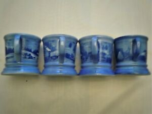 Currier & Ives Collectible Mugs Set of 4 The Homestead In Winter Blue And White