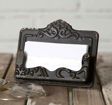 New Black Distressed Business Card Holder Chippy Chic Shabby Vtg Style Embossed