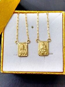 18k-Gold-Scapular-Lady-of-Carmel-with-heart-of-Jesus-chain-70-cm-Double-Sided