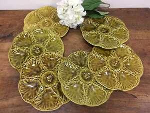 French-Vintage-Oyster-Plates-Set-of-6-Six-Gien-majolica-0K048
