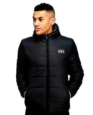 Fila Men's Alpino Retro Hooded Reversible Fleece Jacket Coat Black
