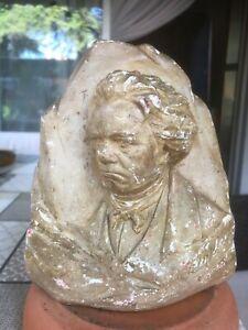 Diplomatique Ancien Statuette Bas Relief Buste Beethoven Signé Avec Tampon Au Dos En Plâtre