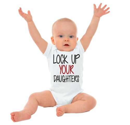 Lock Up Your Daughters Funny Cute Shower Gift Infant Gerber Onesie For Baby Boys