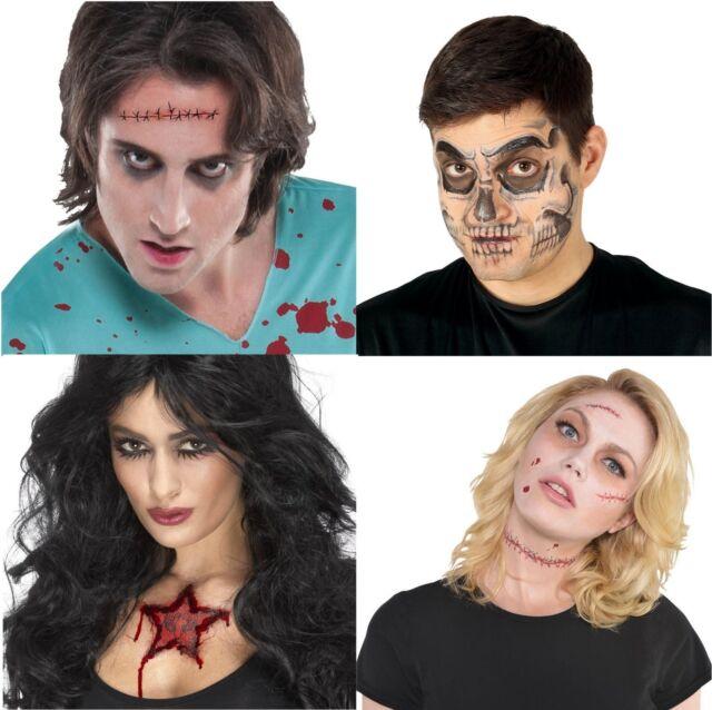 New de Halloween Cosido cráneo cara Cicatriz de la herida demonio carneros cabeza tatuajes temporales