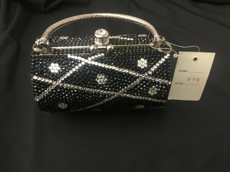 Black Crystal Womens Evening Bag