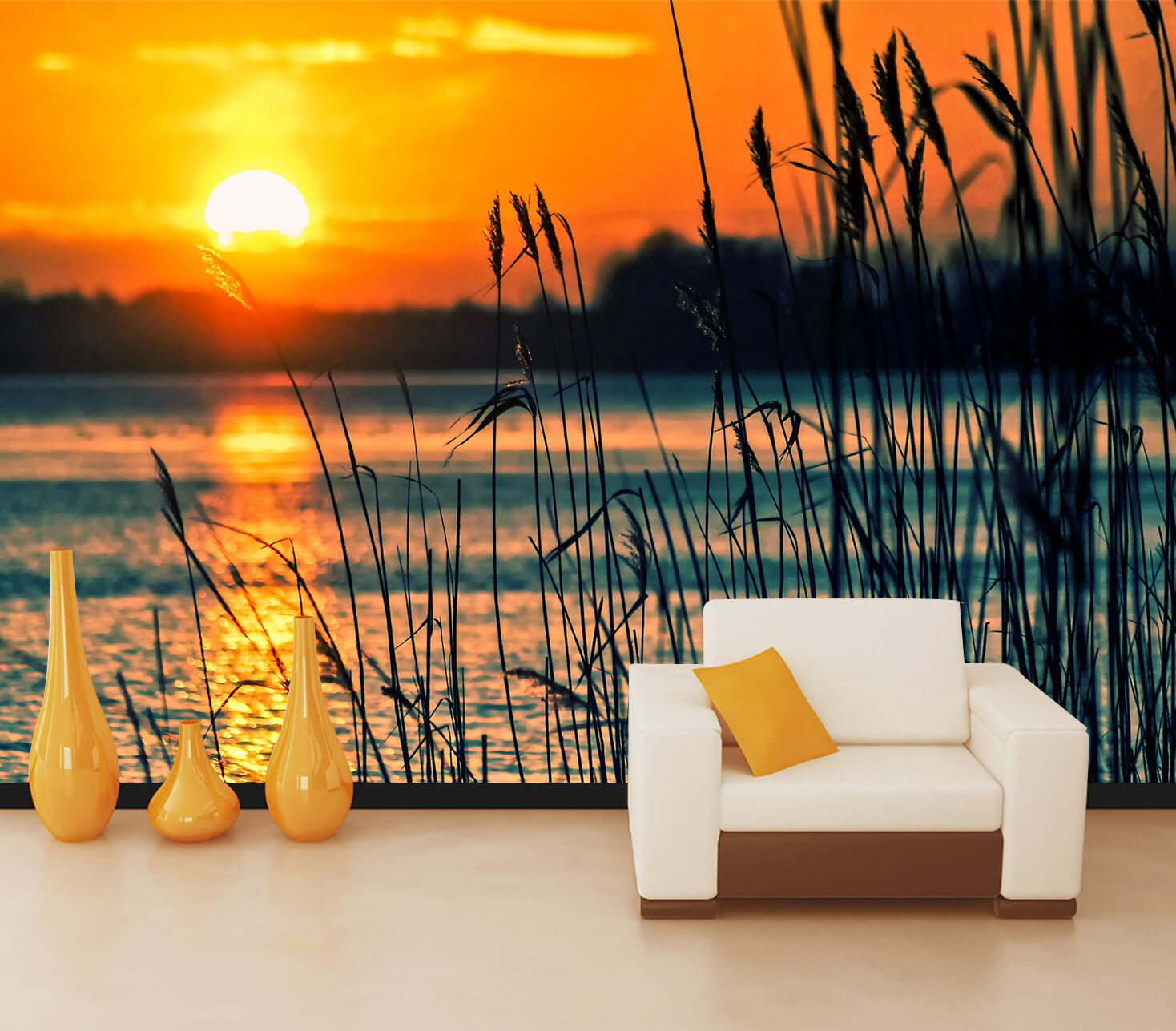 3D sunset wetlands lake Wall Paper Print Decal Wall Deco Indoor wall Mural