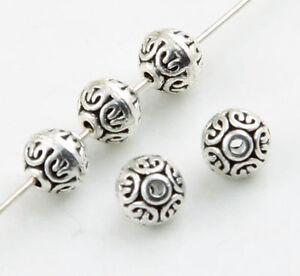 15//30Pcs Tibetan Silver Floral Rondelle Spacer Beads Connectors Bails 6x4mm