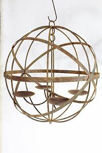 """Wrought Iron Lg 20"""" Mystic Sphere Candle Chandelier ... on Wrought Iron Outdoor Candle Sconces id=92078"""