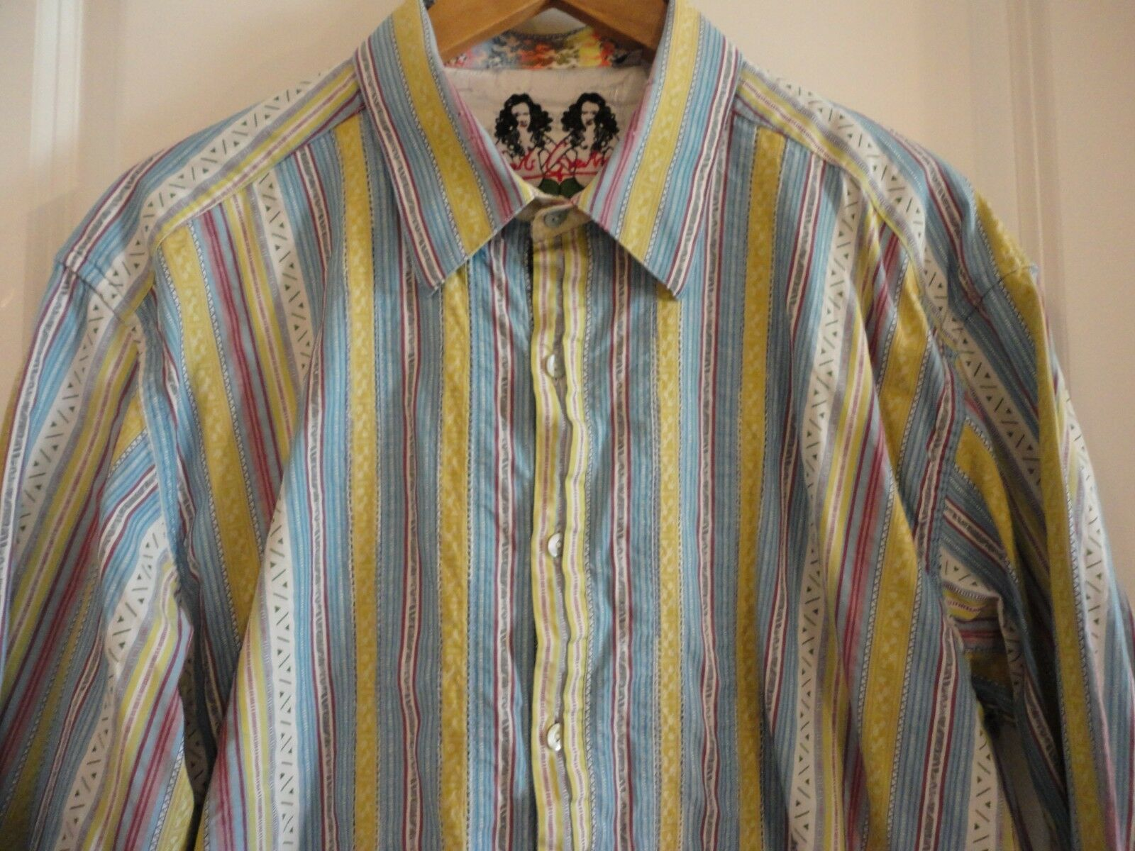 ROBERT GRAHAM Mermaid Label Multi colord Ribbon Patchwork Long Sleeve Shirt XL