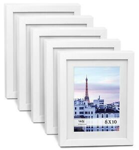 """Cavepop 8x10"""" White Wood Textured Picture Frames - Set of 5"""