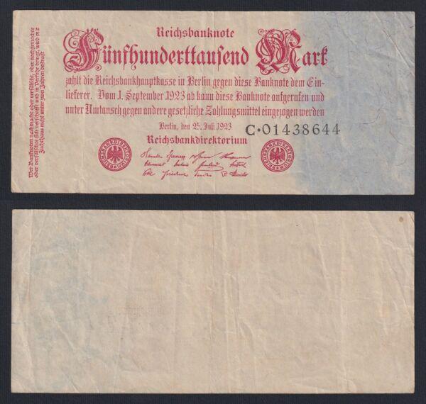 Allemagne - 500.000 Mark Reichsbanknote 1923 Bb / Vf C-09