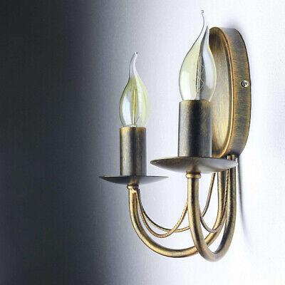 Rustikale Wandleuchte Antik 2FL Eisen massiv Zugschalter Wandlampe Lampe Wand