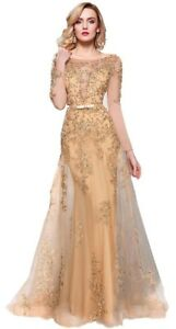 New Sheath Gold Evening Dresses Gold Red Sequins Crystals Prom