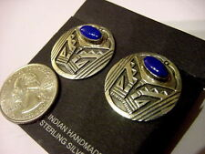 NATIVE AMERICAN DEAD PAWN BLUE LAPIS STERLING SILVER OVERLAY CLIP-ON EARRINGS
