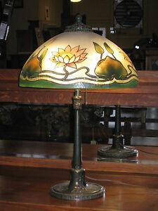 Antique-Gorham-Bronze-Table-Lamp-w-Water-Lily-Lotus-Painted-Shade-Early-1900-039-s