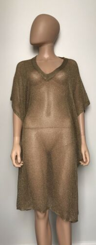 Toshie Gold Shimmer Beach Tunic Size Small