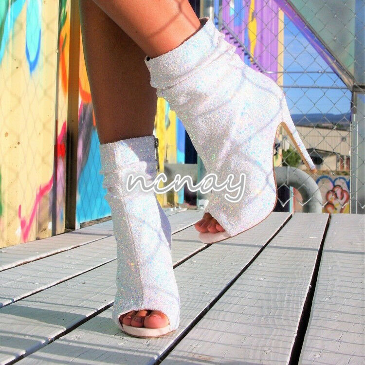Glitter Women's Sequins Sequins Sequins Peep Toe Side Zipper Boot Ruched Synthetic Leather shoes 1d68bc