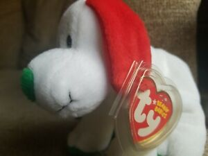 Ty Beanie Babies Howlidays White Red Green Christmas Puppy Dog MINT tag cover