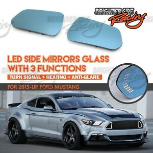 LED TURN ARROWS FOR 15 AND UP MUSTANG SIDE MIRRORS HEATED ANTI-GLARE BLUE LENS