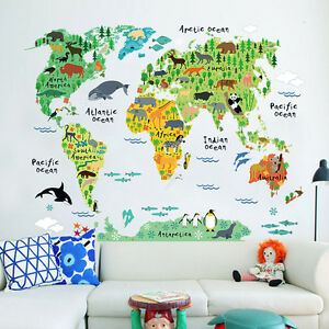 Children Bedroom Wall Sticker Kids Room Educational Animal World Map ...