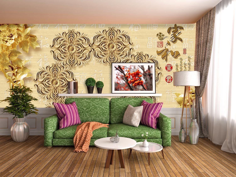 3D Engraving Flowers 7 Wall Paper Murals Wall Print Wall Wallpaper Mural AU Kyra