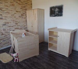 Babyzimmer Komplett Set Babybett Gitterbett Schrank Kommode MASSIVHOLZ Gravur