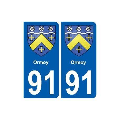 91 Ormoy blason autocollant plaque stickers ville droits