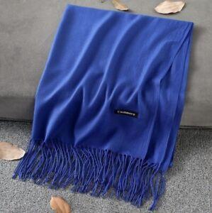 Grand-Foulard-Chale-Echarpe-Homme-Femme-100-Cachemire-Bleu-Marine-Tissu-Fin-Mode