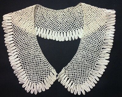 """Exceptional Art Deco White Crochet Lace Collar 17 1/2"""" long around neck, 2 1/2"""""""