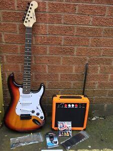 Johnny Brook Standard Guitare Électrique Kit Sunburst Cw 20 W Combo Amplificateur Sac Sr-afficher Le Titre D'origine La DernièRe Mode