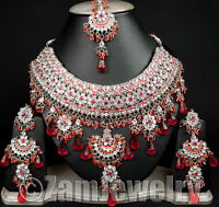 Silver Plated Neo Jodha Akbar Bollywood Kundan Cz Indian Jewelry Set S94 Magenta