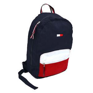 Image Is Loading Tommy Hilfiger Backpack Canvas Bookbag 2 Pocket Shoulder