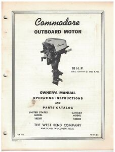 Vintage 1961 West Bend Co Outboard Motor Parts Catalog Commodore 18 Hp Ebay